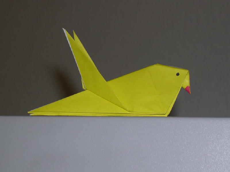 completed Origami Bird or Origami Robin